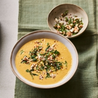 Spiced corn chowder with mint