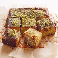 Sticky pistachio cake with seville orange syrup