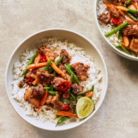 Stir-fried lemongrass chicken & rice