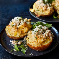 Twice baked potatoes with crab and gruyere