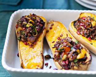 Squash stuffed with fruit and nut pilaf