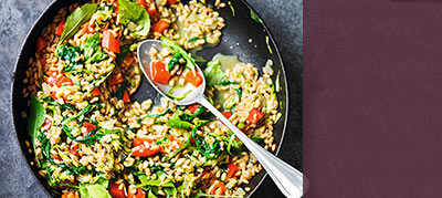 view Spelt, courgette and rocket risotto recipe