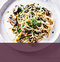 view Mushroom linguine with green chilli verde recipe