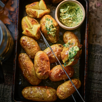 Baby jacket potatoes with smoked garlic butter