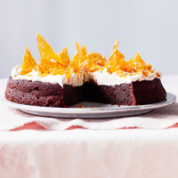 Bea Vo's flourless chocolate cake with tahini mascarpone and sesame brittle