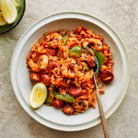 Barbecued shrimp & chorizo jambalaya