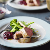 Cumin rack of lamb with cranberry & red onion relish