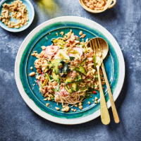 Crab noodle salad with chilli, lime & courgette