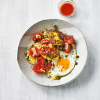 Courgette fritters roasted tomatoes & eggs