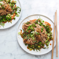 Chilled soba noodle salad with peas and broad beans
