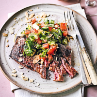 Chopped salad with bavette steak