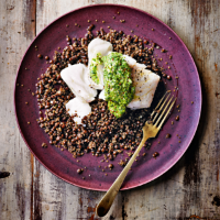 Cod with parsley mustard & lentils