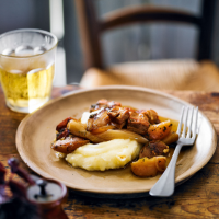 Cider-braised pork belly with apples