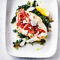 Chicken saltimbocca with anchovy greens