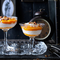 Cinnamon, squash and apple mousse with yogurt and spiced walnuts