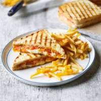 Griddled tomato & mozzarella panini with chilli fries