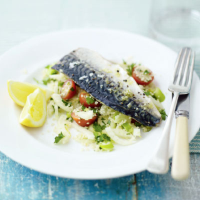Grilled mackerel with lemon and fennel couscous