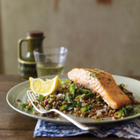 Grilled salmon with mixed grain salad