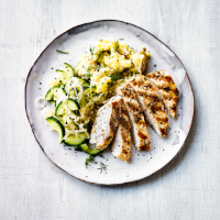 Griddled chicken with quick pickles & crushed potatoes