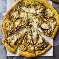 Griddled aubergine, mozzarella & pesto pizza