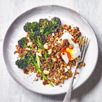 Grilled Tenderstem with chilli dressing & poached eggs