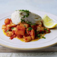 Hake with paprika potatoes and butter beans