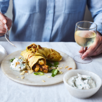Indian-style pancakes with spiced Jersey Royals