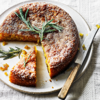 Lemon & olive oil cake with lemon & rosemary syrup