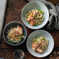 Miso-glazed salmon with udon noodles