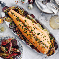 Oven-poached salmon with fennel and beetroot