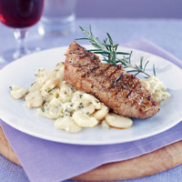 Peppered Lamb Steaks with Garlic Butter Beans