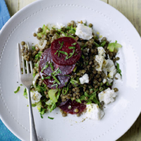 Puy lentils with beetroot and goat's cheese