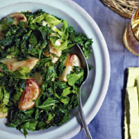 Pan-roasted turnips with leafy greens
