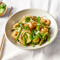 Prawn and spring vegetable noodles