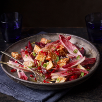 Pomegranate, beetroot, red chicory, mint and halloumi salad