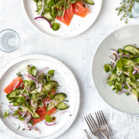 Quick-pickled cucumber, dill and mustard seed salad with smoked salmon