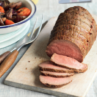 Roast beef with balsamic roast vegetables