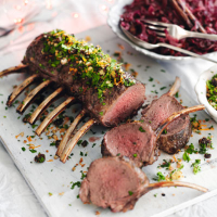 Roast rack of venison with cherry and clementine crumb