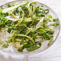 Raw asparagus, pea shoot and pecorino salad