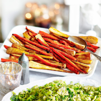 Roast glazed carrots and parsnips