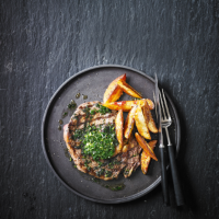 Rib eye steak with tarragon, parsley & garlic butter