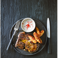 Ribeye steaks potato wedges chilli mustard dip