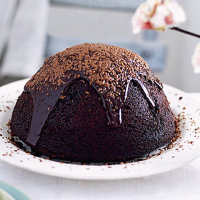 Steamed Easter chocolate pudding