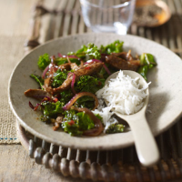 Shredded beef stir-fry with kale & black bean sauce