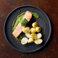 Salmon with watercress & caper sauce