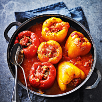 Stuffed peppers with veal, pork & rice in a rich tomato sauce