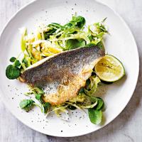 Spiced sea bass, crushed potatoes & watercress