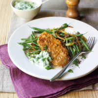 Tandoori lamb with raita and spiced green beans