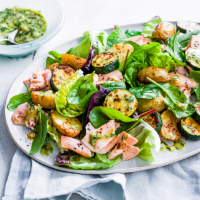 Warm courgette and salmon salad