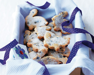 Easter bunny biscuits with currants and mixed spice